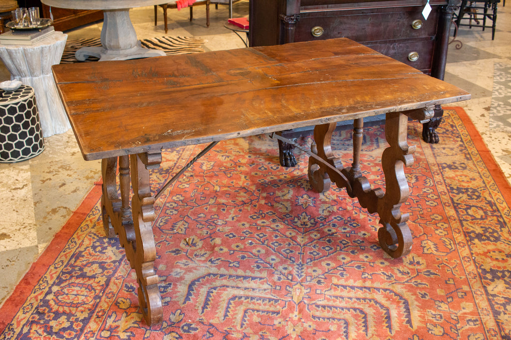18th c Iron and Walnut Catalan Writing and Dining Table Found in Spain