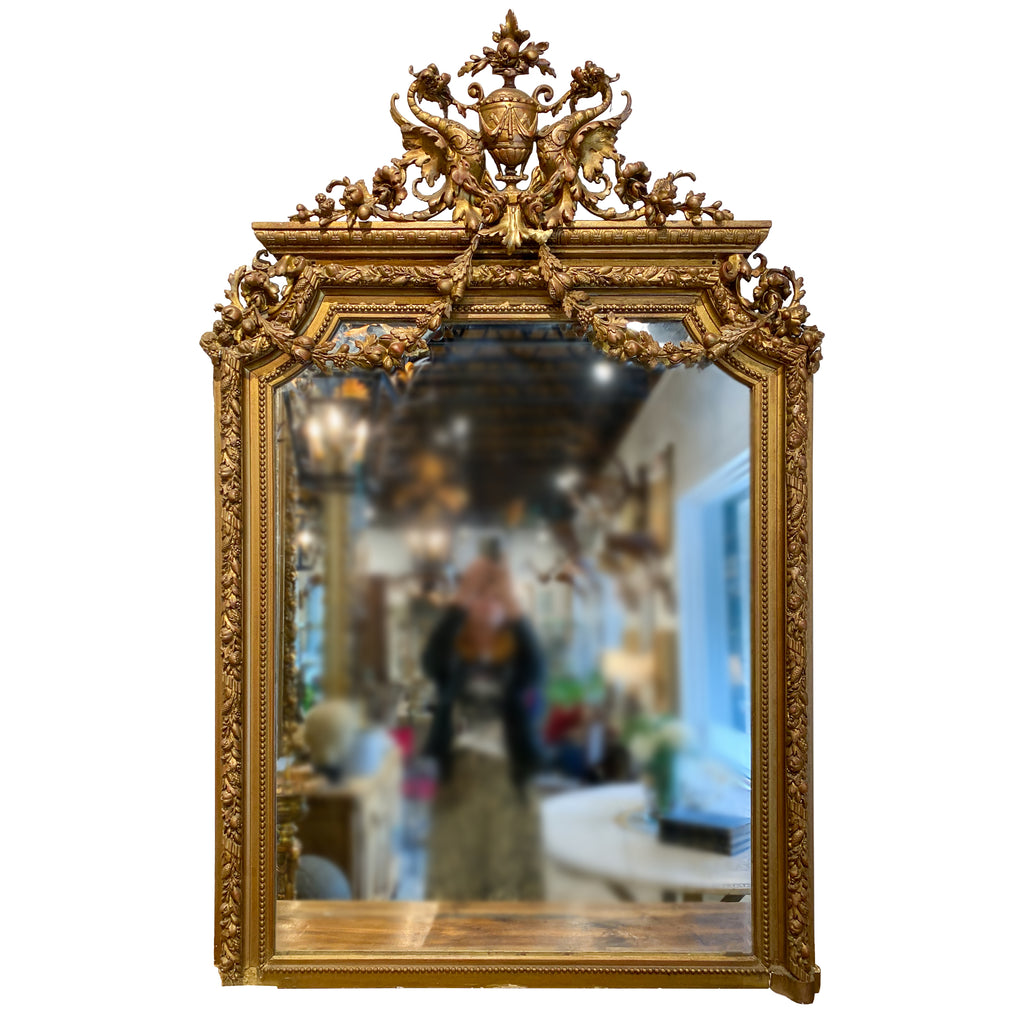 Antique French Gilt Mirror with Swag Detail and Ornate Cartouche