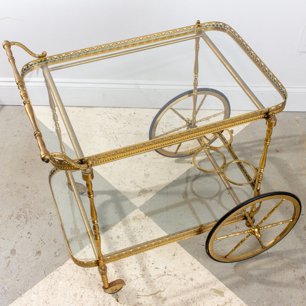 Mid-Century French Brass & Glass Trolley Style Bar Cart with Large Wheels