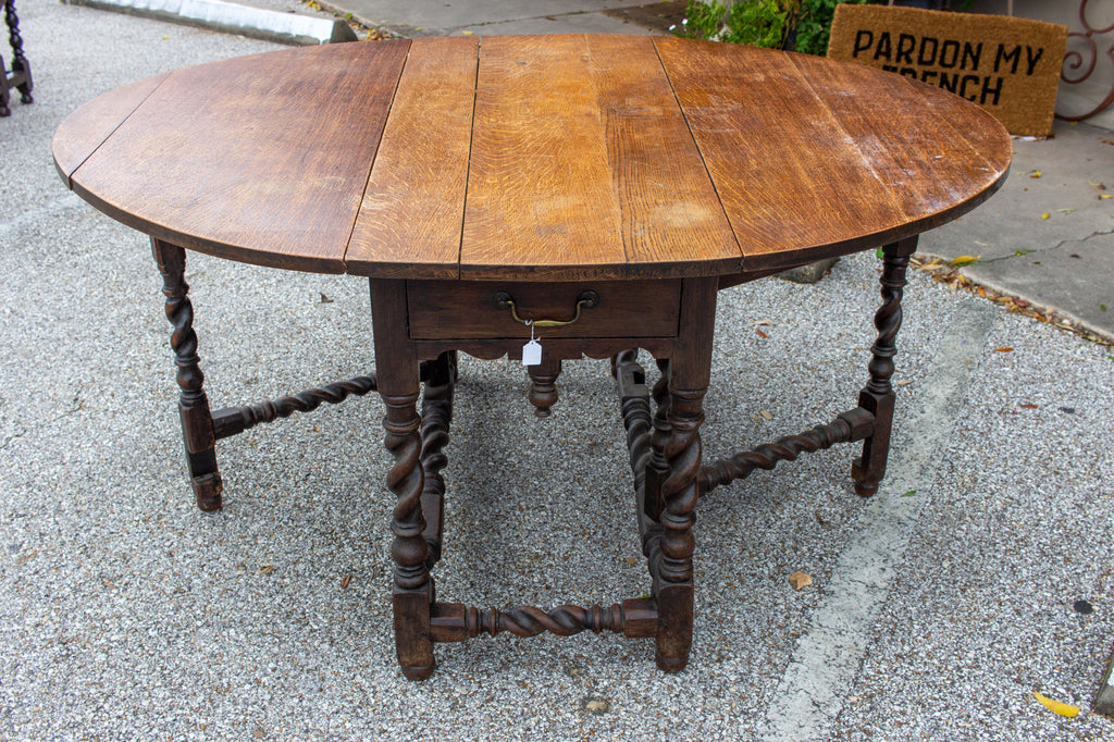 19th Century French Drop-Leaf Barley-Twist Gate Leg Table & Console with Drawer