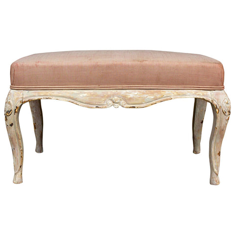 Antique French Carved Bench with Distressed Painted Finish, circa 1820