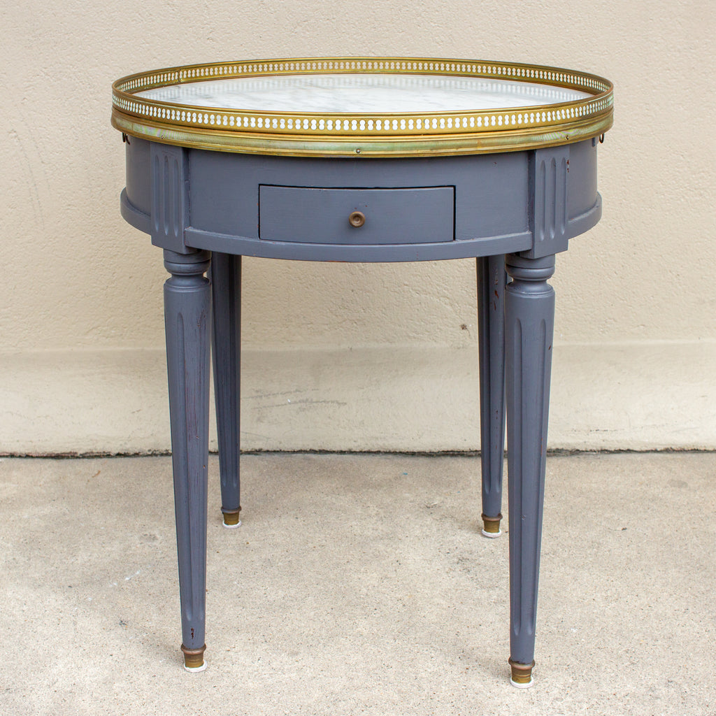 French Louis XVI Style Bouillote Side Table with Marble Top in Charcoal