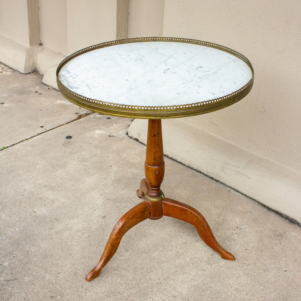 1940s French Wood and Marble Pedestal Side Table with Gallery Edge