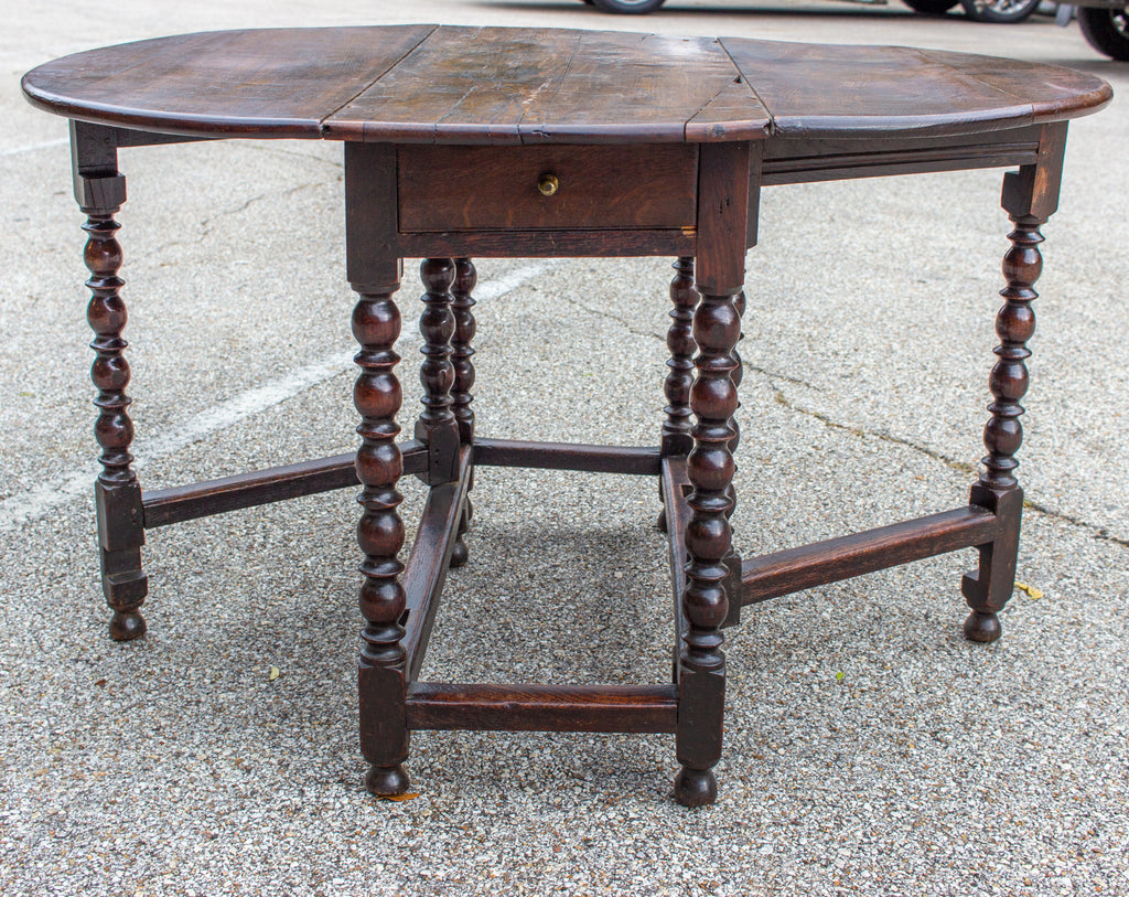 19th Century Oak Drop Leaf Gate Leg Table and Console with Drawer, circa 1840