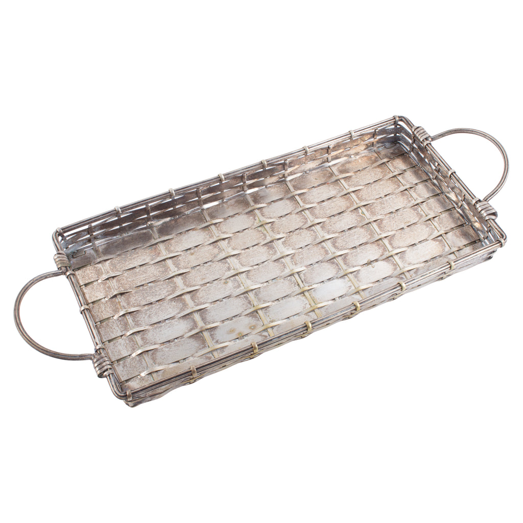 Vintage French Woven Metal Tray