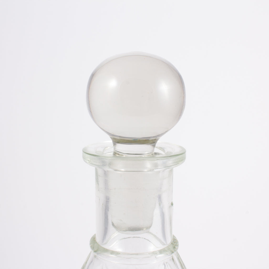 1930s French Faceted Glass Teardrop Decanter