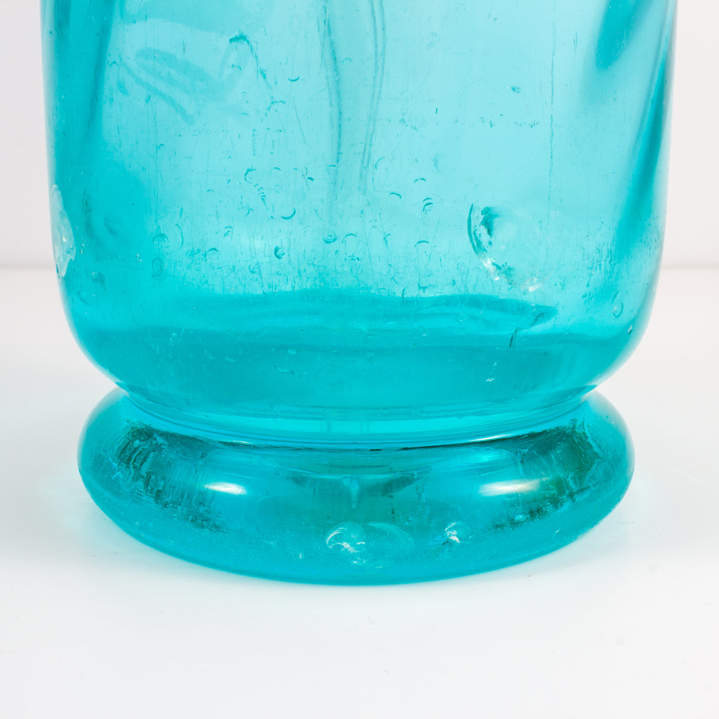 1930s French Etched Turquoise Glass Seltzer Bottle