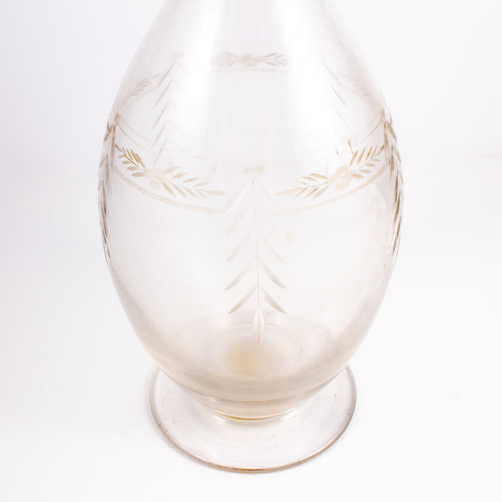 Vintage French Etched Glass Decanter