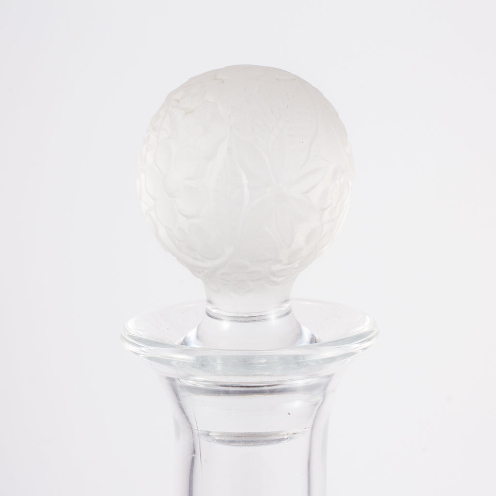 Vintage French Handblown Glass Decanter with Frosted Stopper