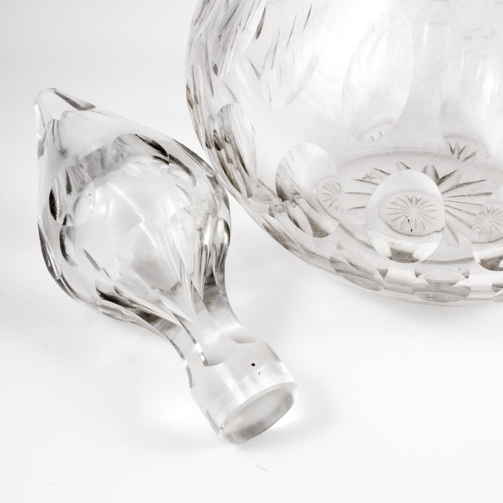 Vintage French Crystal Decanter with Flame Stopper