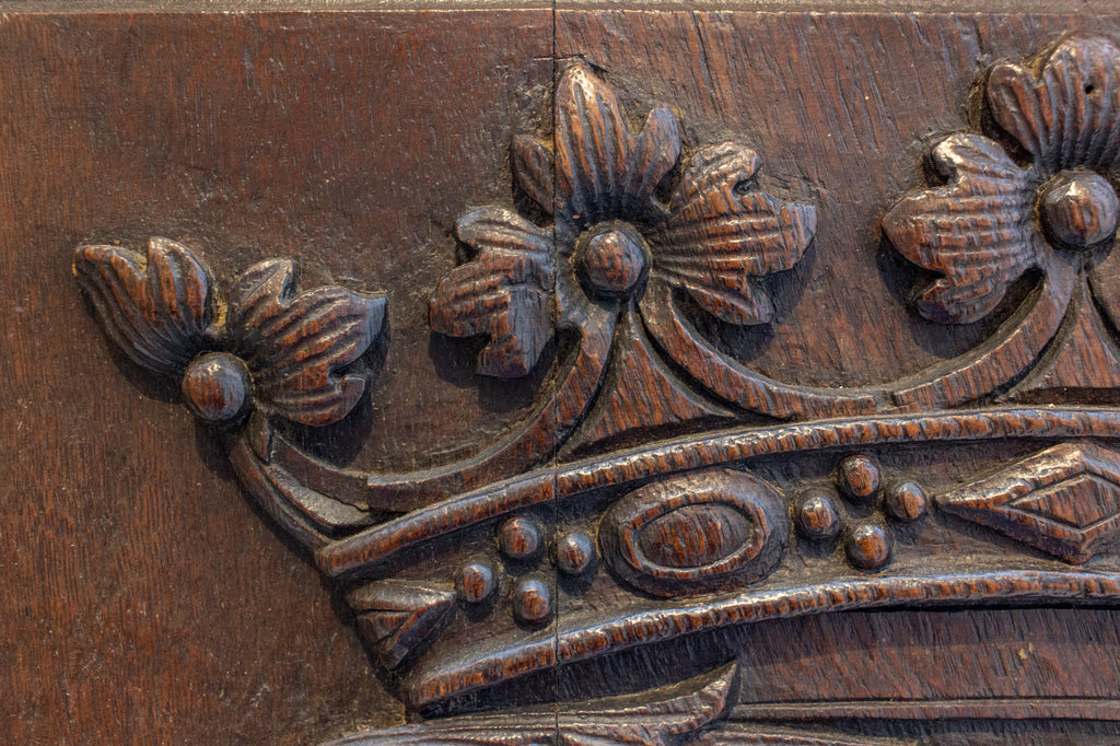 19th c European Hand-Carved Wood Panel with Royal Monogram, ca. 1850