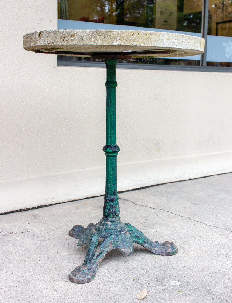 Antique Cast Iron Bistro Table with Concrete Top Found in France