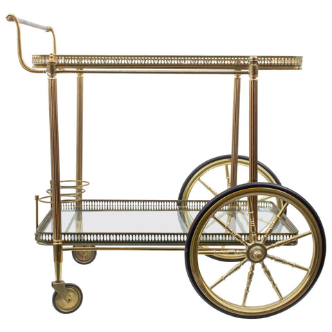 Vintage French Brass & Glass Trolley Style Bar Cart with Large Wheels