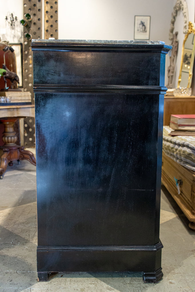 19th C French Louis Philippe Black Painted Chest with Marble Top, circa 1870