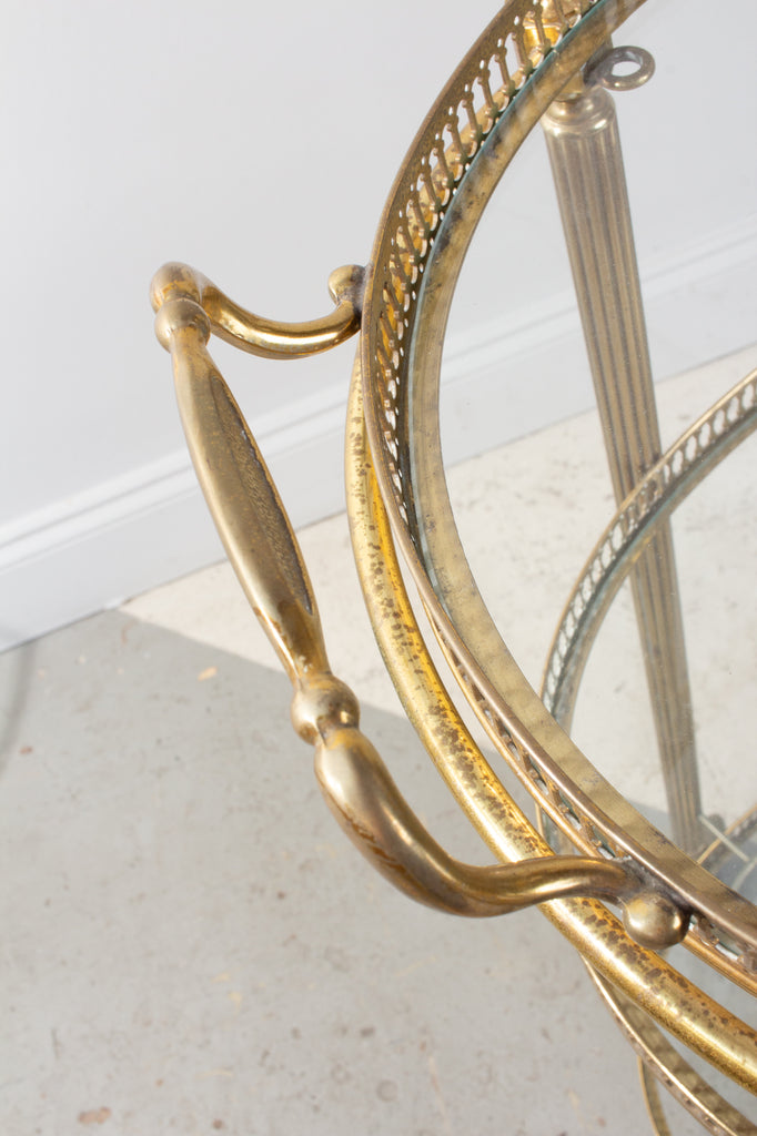Mid-Century French Brass & Glass Oval Bar Cart with Removable Top Tray