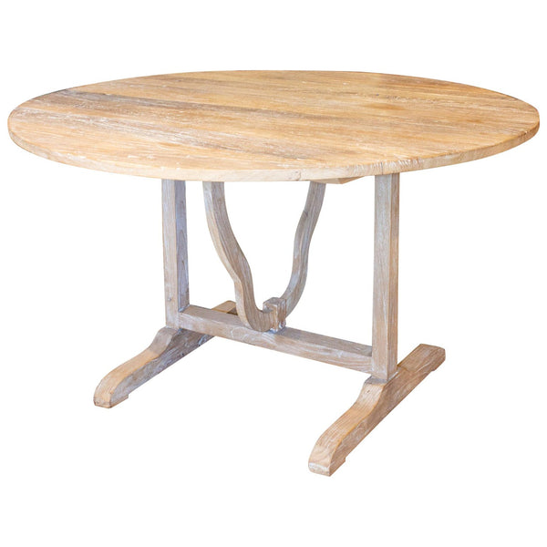 Large Vintage French Elm Vendage Tilt-Top Table with White Patina