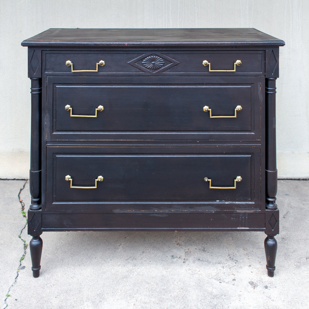 Vintage French Directoire Style Chest in Black Painted Finish