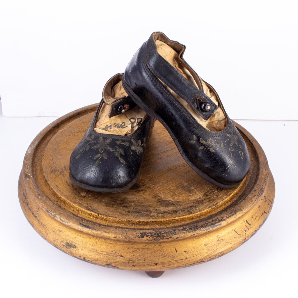 Antique Victorian Children's Shoes on Glass Cloche Display