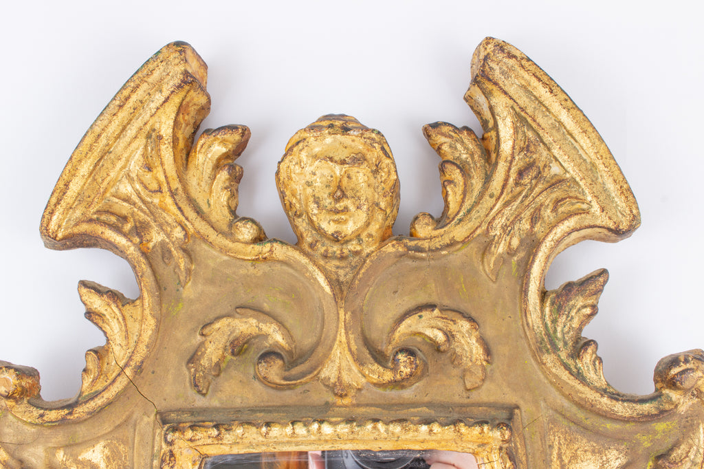 Antique French Carved Gilt Mirror with Lion Detail