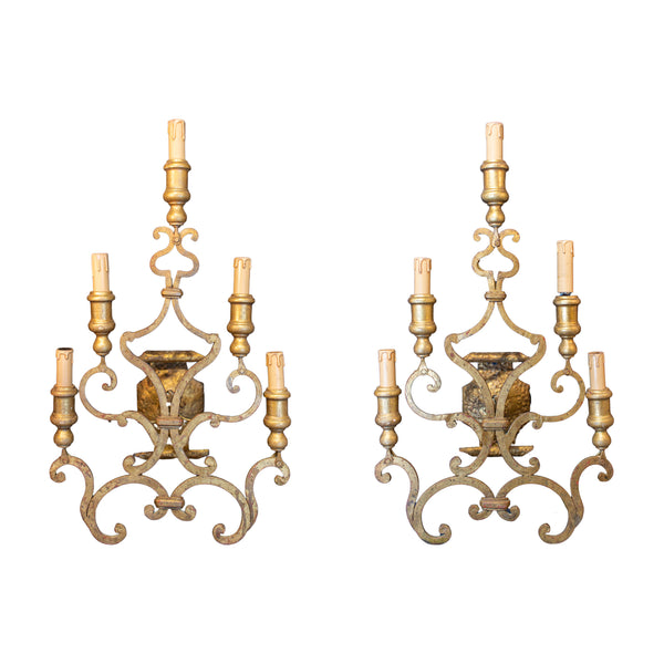 Pair of Antique French Gilt Iron Candelabra Sconces