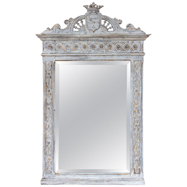 Antique Victorian Carved Mirror in Distressed White, Greige & Gilt Finish