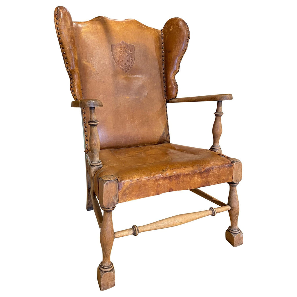 1920s Italian Leather Wingback Chair with Embossed Detail