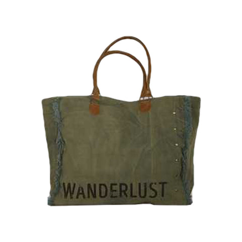 "Canvas ""Wanderlust"" Tote with Leather Straps"