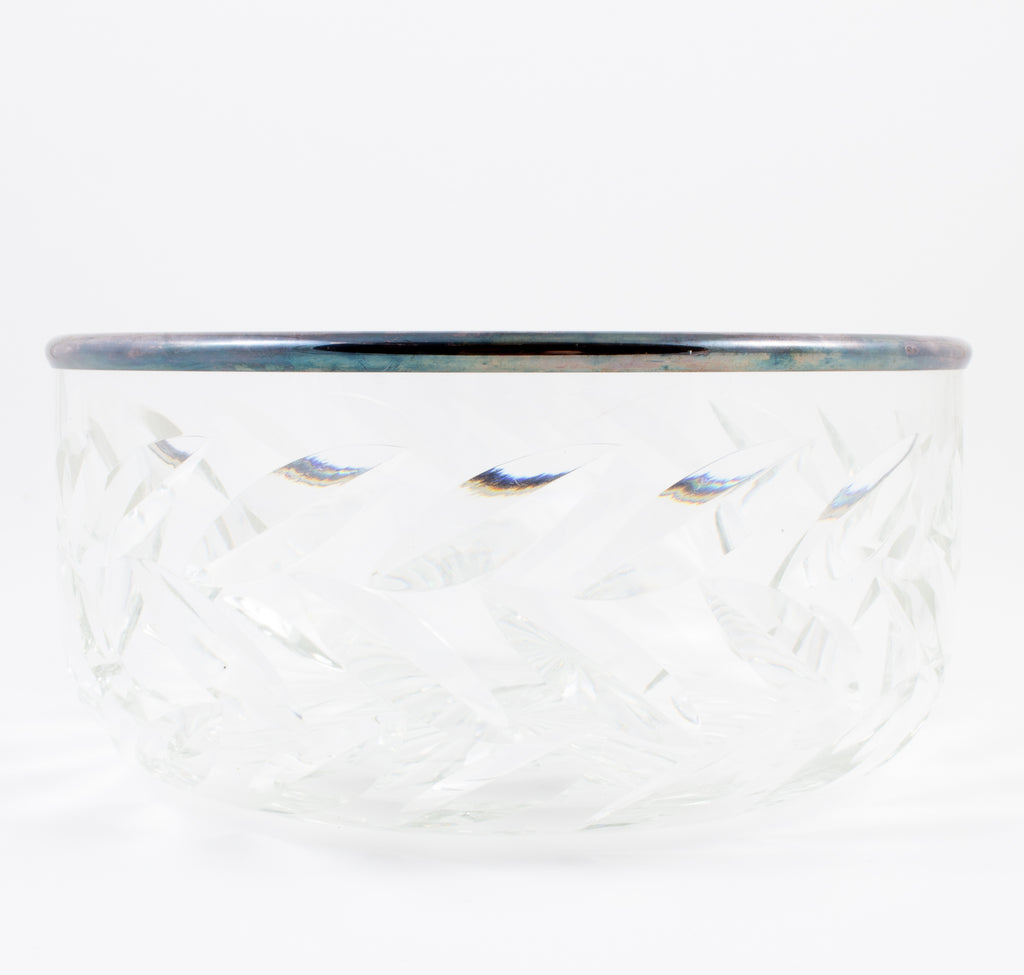Vintage Crystal Bowl with Silver Edge Detail found in France