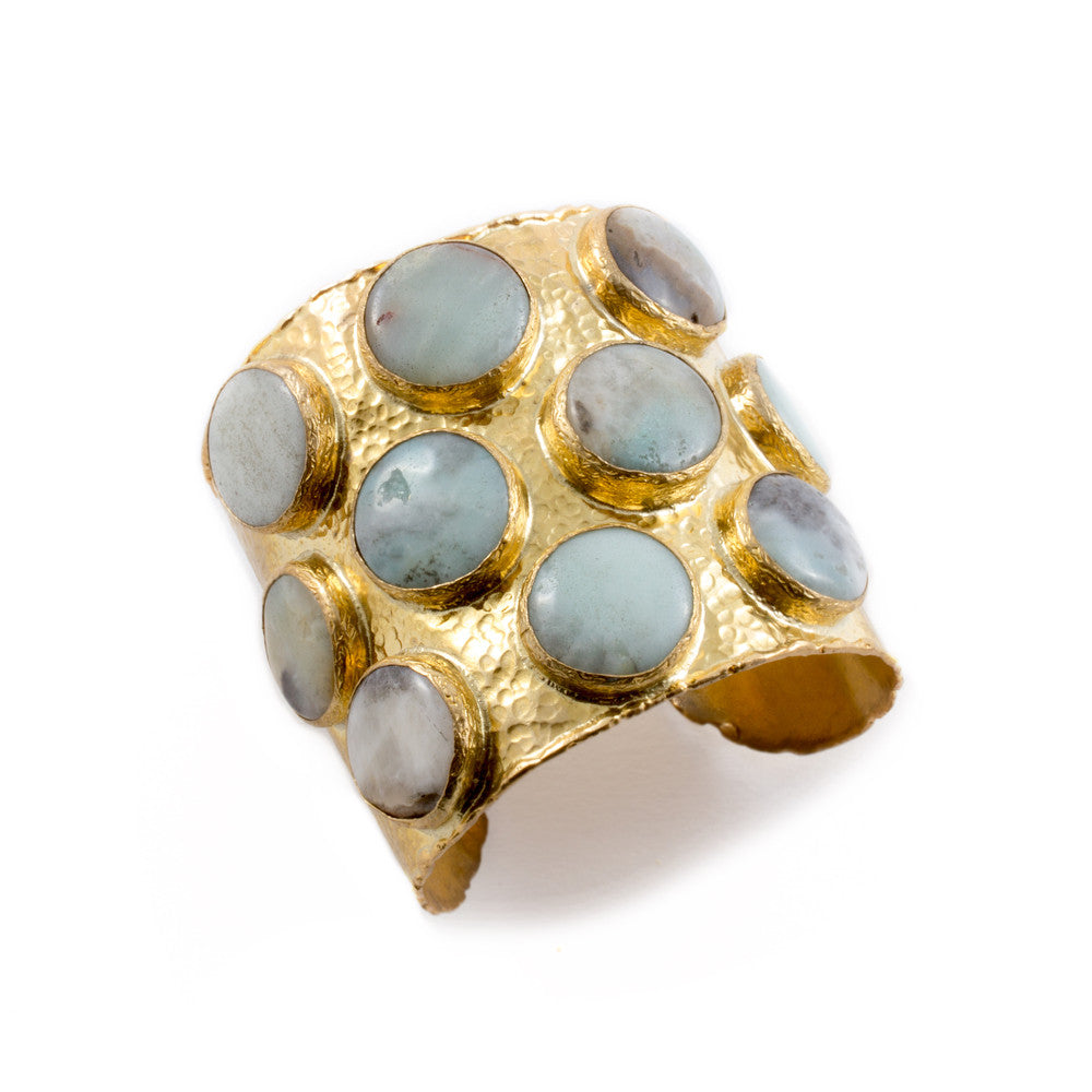 Natural Stone & Brass Cuff from Istanbul