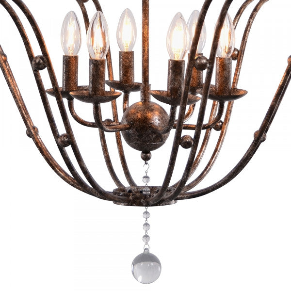 Rustic Metal & Glass Chandelier