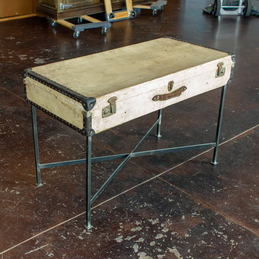 Side Table Crafted with Vintage French Luggage & Custom Iron Base