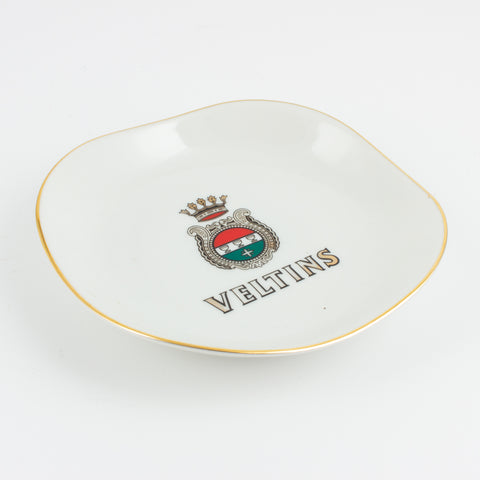 Vintage Ceramic Veltins Pilsner Dish with Gilt Edge
