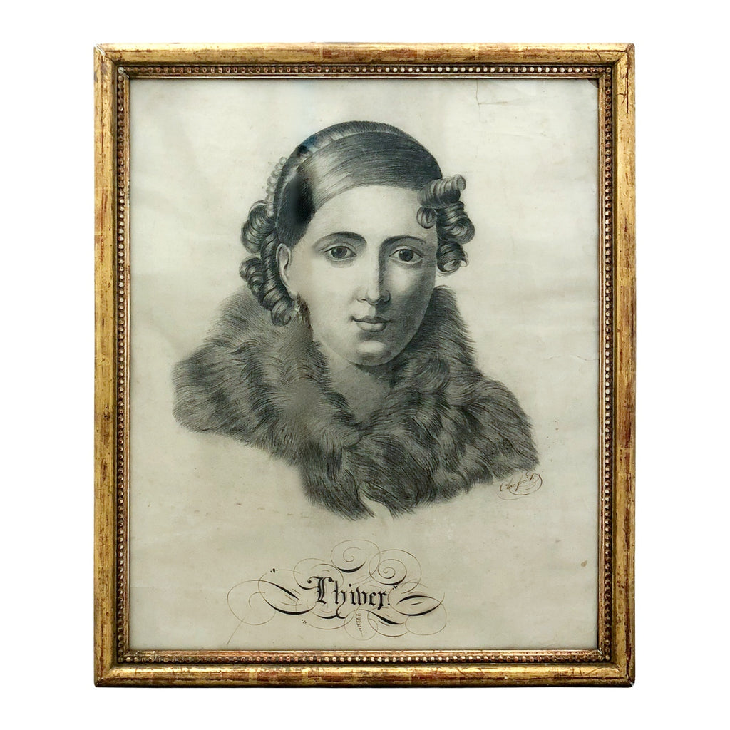 "19th Century French Drawing ""Winter"" in Antique Gilt Frame"