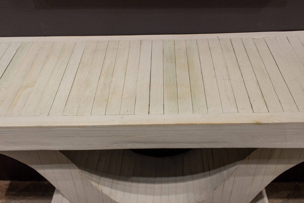 "Handcrafted Wood ""Wishbone"" Console Made from Reclaimed Materials in White"