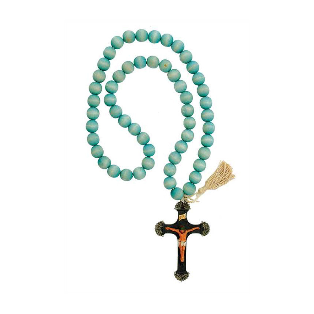 Decorative Wood Beaded 32-inch Rosary with Pewter Cross