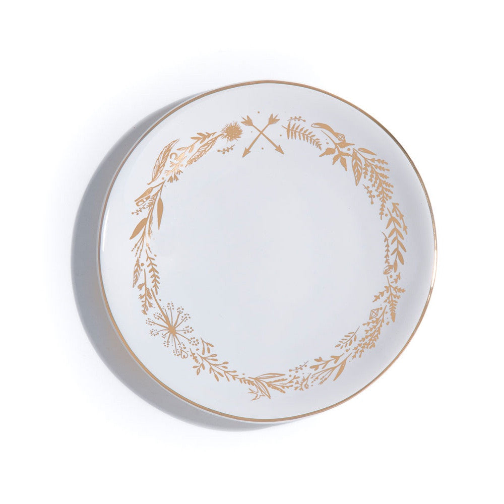 Round Ceramic Gold & White Wreath Trinket Dish