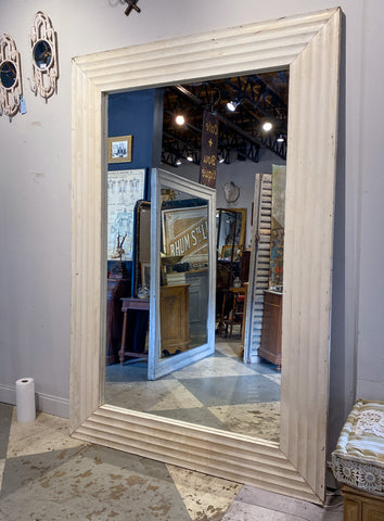 8-Foot Vintage French Floor Mirror with Textured Wood Frame in Painted Finish
