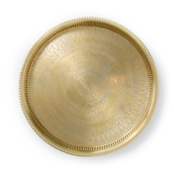Large Egyptian Handmade Aluminum Tray in Gold Finish