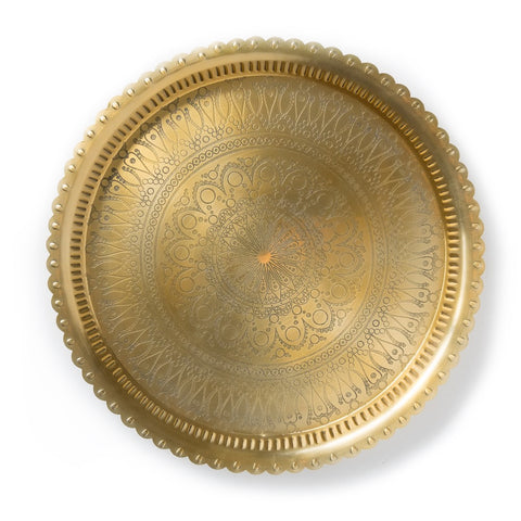 Small Egyptian Handmade Aluminum Tray in Gold Finish
