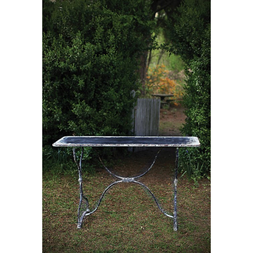 Distressed Metal Console Table in Black & White Finish