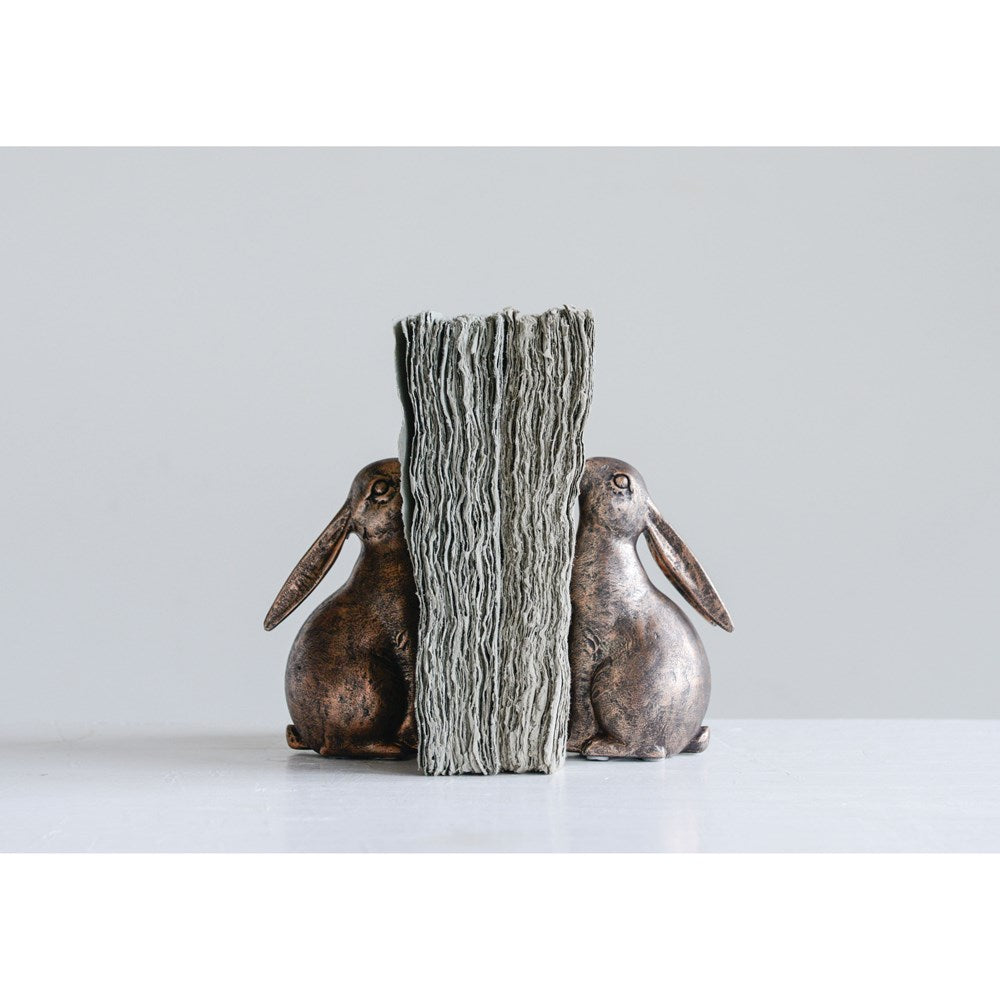 Pair of Bunny Bookends in Bronze Finish