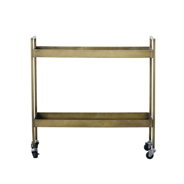 Metal Two-Tier Bar Cart on Casters in Antique Brass Finish