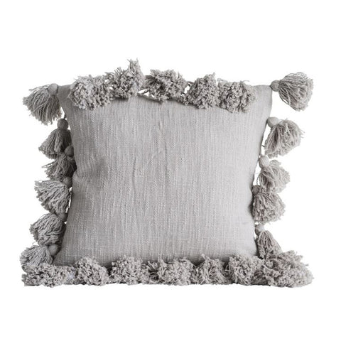Square Cotton Tassel Pillow, Grey (18-Inch)