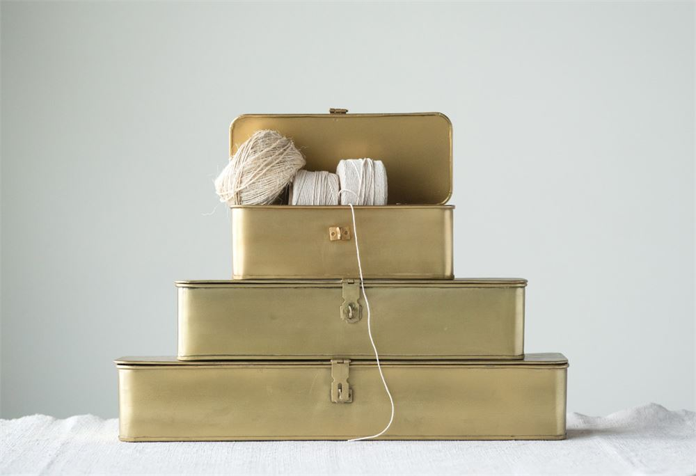 Vintage-Inspired Decorative Metal Boxes | Three Sizes