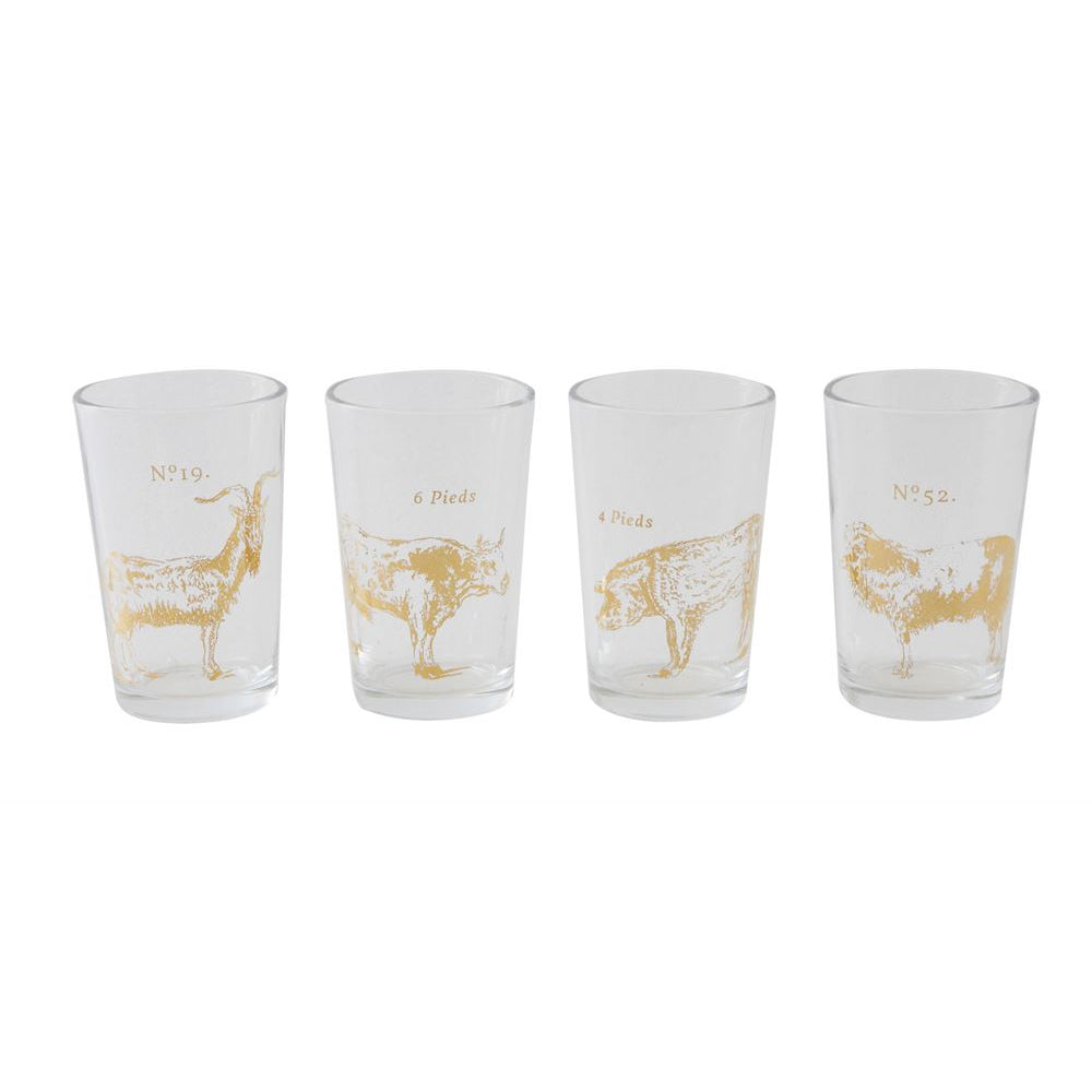Vintage Farm Animal Drinking Glasses Set Of 4 Laurier Blanc Unique Home Decor From Around The World