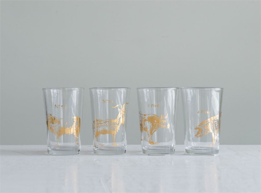 Vintage Farm Animal Drinking Glasses - Set of 4