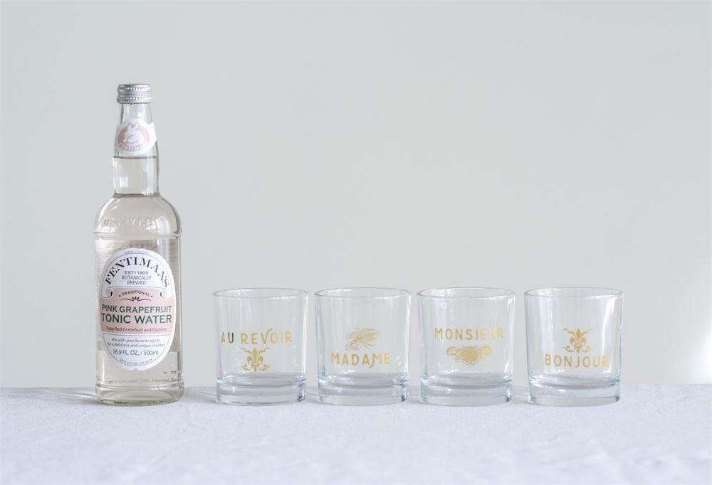 Française Drinking Glass Set with Gold Accents (Set of Four)
