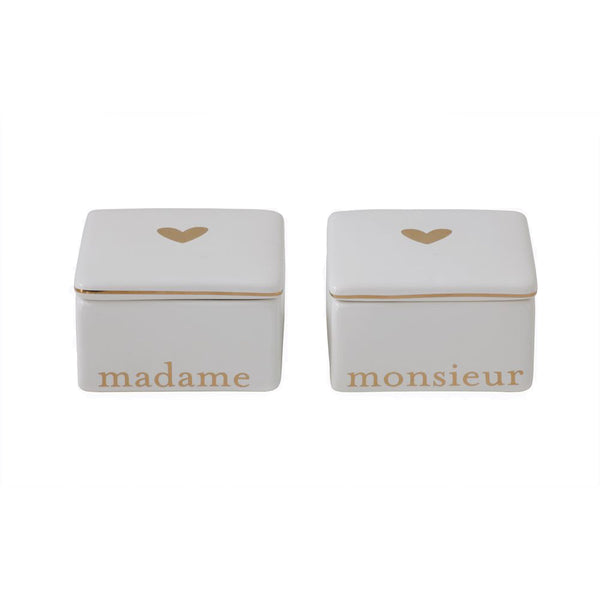 "White & Gold Ceramic ""Madame"" & ""Monsieur"" Keepsake Boxes"