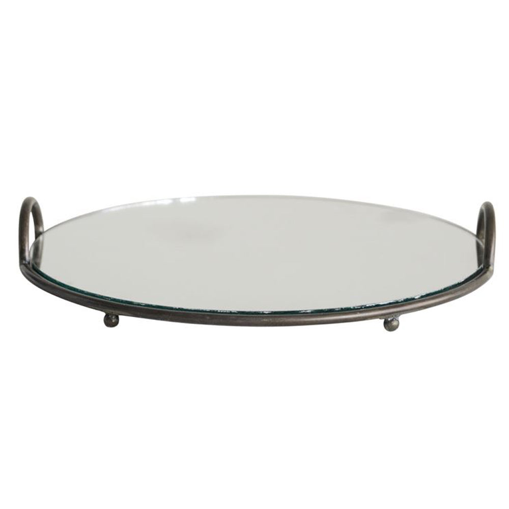 Round Metal & Mirrored Tray