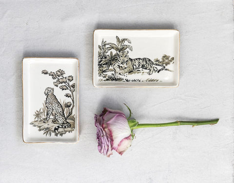 Stoneware Jungle Cats Trinket Dish | Two Styles